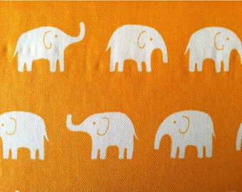 Elephant Fabric in Orange - Tip Top Canvas Daiwabo Fabric Japanese Import - One yard