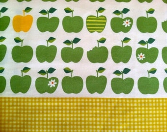 SALE Apple Fabric in Green / Yellow Cotton Linen Japanese Fabric - 1 Yard