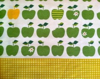 SALE Apple Fabric in Green / Yellow Cotton Linen Japanese Fabric - 1 Yard