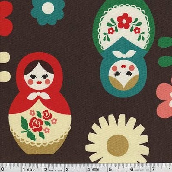 Matryoshka Dolls Kokka Fabric in Brown Japanese Import - 34 inches