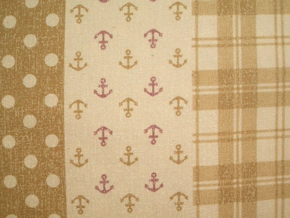 SALE Nautical Fabric in Beige Japanese Fabric Cotton Canvas - 1 Yard