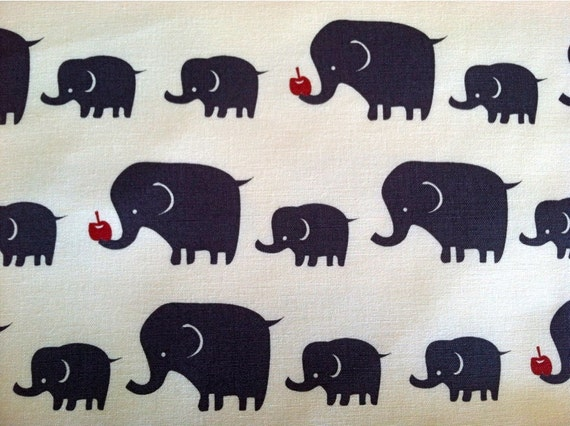 Elephant Fabric in Blue / Gray Cotton Canvas Japanese Import Fabric - 1 Yard