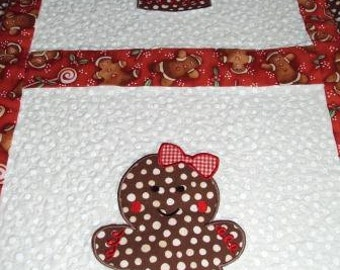 Quilted Gingerbread Girl Table Runner