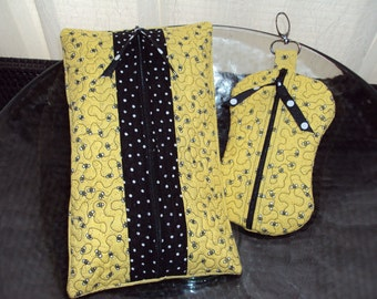 Quilted baby wipes & paci case set