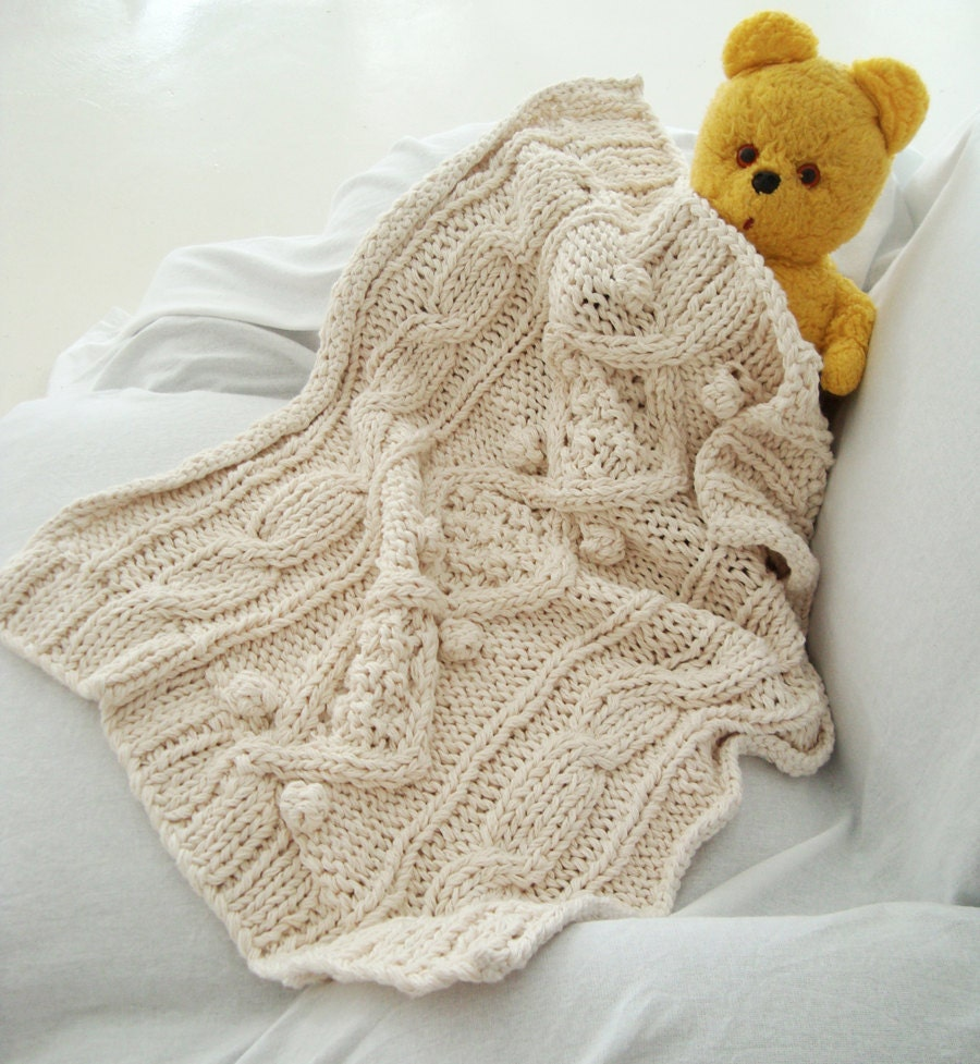 Knitting Pattern For Baby Blanket With Cable : organic cotton chunky cable knit baby blanket