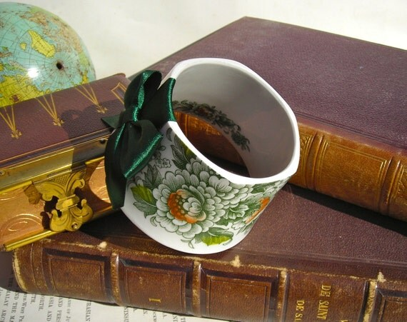 StayGoldMaryRose - Retro wild green 70's floral pattern tea cup bracelet cuff with dark forest green hand made satin bow.