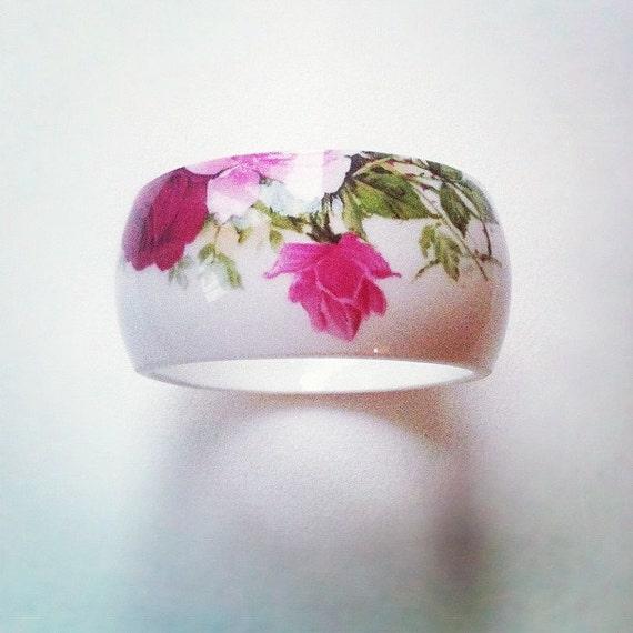 StayGoldMaryRose - Stunning vintage china vase bracelet with rose pattern - Bangles cut from vintage miniature vases.