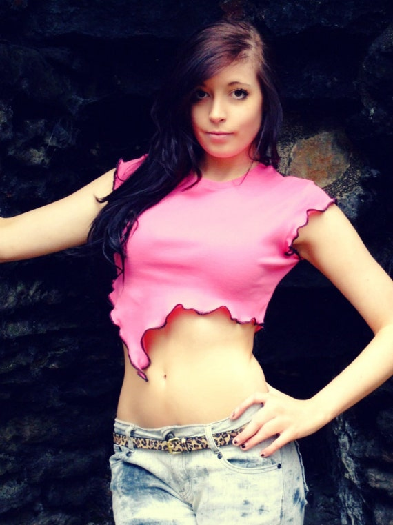 TShirt, Short Sleeve, Top, Crop, Pink, Black, Cotton, Cropped, Pixie, Belly, S, Small