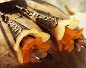 Orange lily flower earring crystal, antique brass
