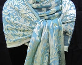 Watery Light Teal and Celadon Green Devore Victorian Silk Scarf with extra long fringe