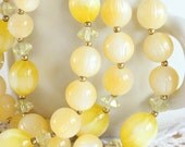 Yellow Triple Strand Lisner Necklace