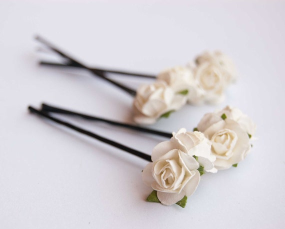 Ivory rose, bridal hair accessories, bohemian wedding hair accessory, ivory hair flower, set of 4