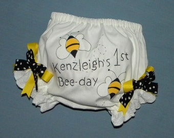 Monogrammed Diaper Cover-Bloomer, Bumble Bees, Hand Painted, Hand Embroidered, Sizes newborn through 24 month