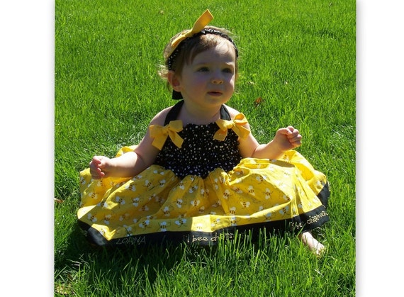 Baby-Toddler-Girls Monogrammed Poofy Smocked Bumble Bee Dress, Halter Style, Yellow Bumble Bees, Made to Order in sizes 6 month through 8