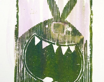 green bunny - linocut, limited edition