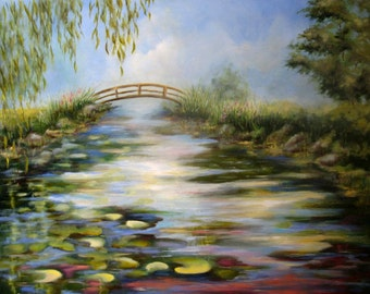 SUMMER POND 18x24 Original Oil painting by Alexandra Kopp