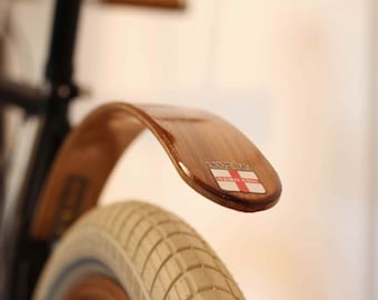 Woody's Chop Chort Rear Teak bike fender.  Bicycle fender, fixie bike, splash guard, mud guard, Woody, NYC, urban, cycle