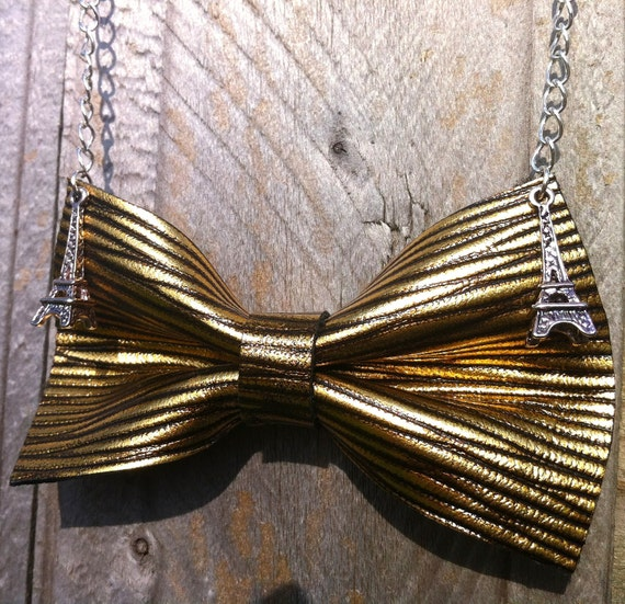 Leather Bow EIffel Tower Chain Necklace