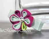Fabric Flower Hairlip -Acai Berry Mini Moonlit - Kanzashi