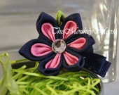 Flower Fabric Hair Clip For Girls -Pink A'Rama Medium Starlit-TheMonkeyMoos
