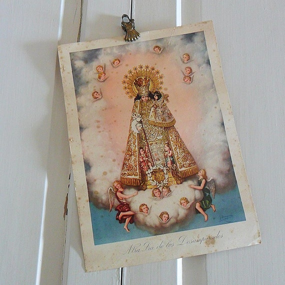 Vintage Spanish Religious Print with Vintage Brass French Curtain Clip