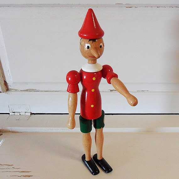 Vintage french wooden janod jointed pinocchio toy christmas