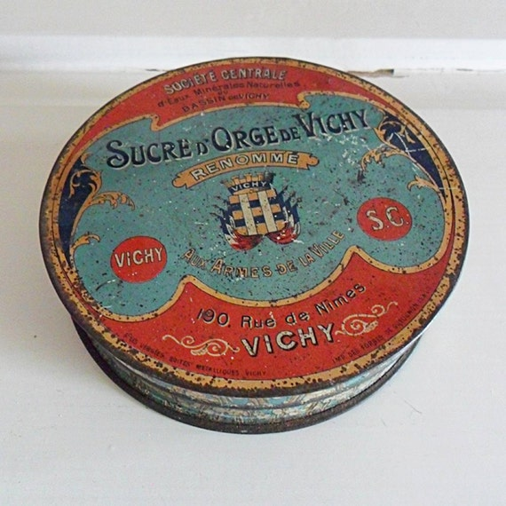 Vintage French 1920's Vichy Sweet Tin Typographic