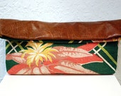Vintage Barkcloth and Leather Clutch