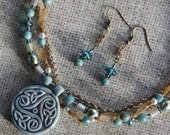 Softly Celtic - Necklace, Earrings in aqua, mustard, and cream