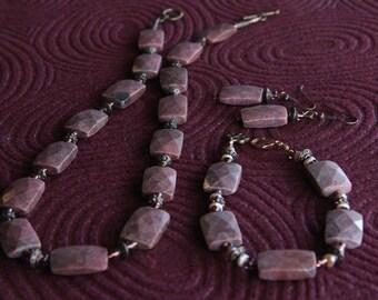 Rhapsody in Rhodonite - Necklace, Bracelet, Earrings