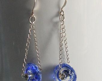 Blue Spiral Earrings - art glass bead on swingy chain dangle