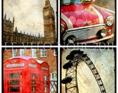 London, Red, British, England, Set of Four Ttv Inspired 5x5 Photographs, Fit IKEA Ribba Picture Frames