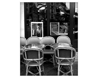 French Sidewalk Cafe, Tres Chic Paris, France,Black and White, Unmatted 8x10 Print