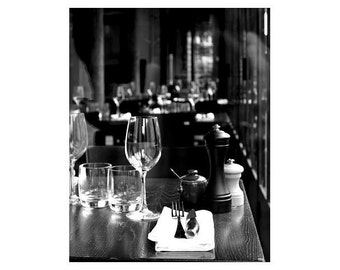 On the Bistro Table, Paris, France,Black and White, Unmatted 8x10 Print