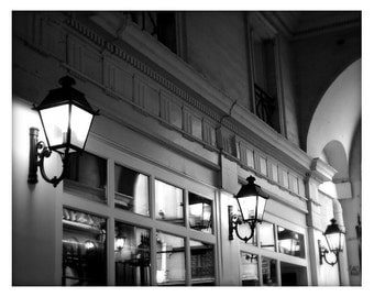 Parisian lights, Parisian alley, France, Black and White, Unmatted 8x10 Print