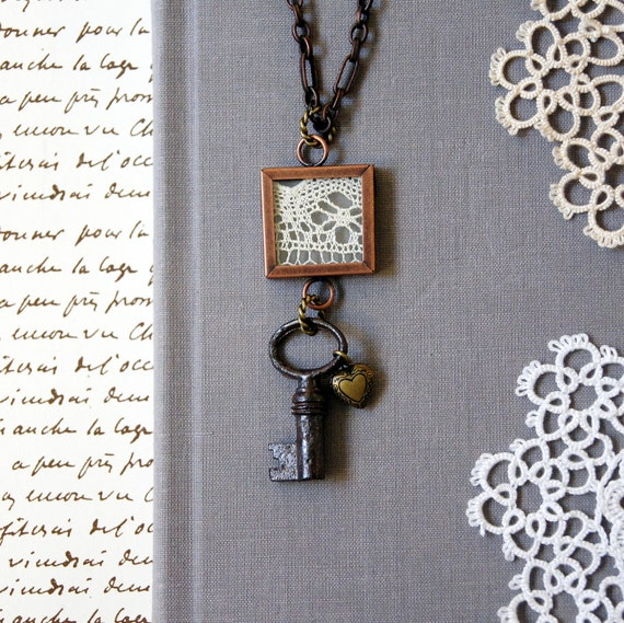 Vintage Skeleton Key Necklace: Memories of the Past, Ready to Ship, Free USA Shipping