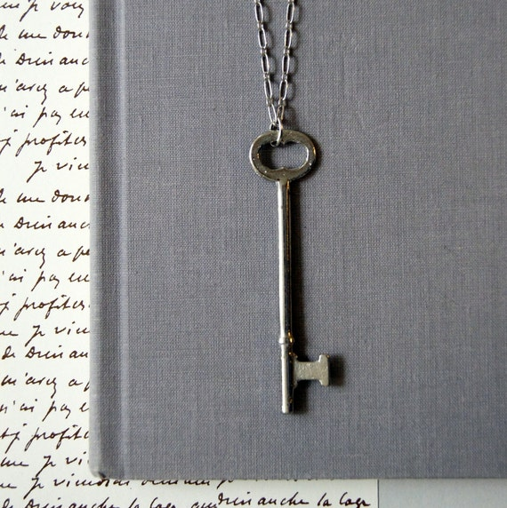 Vintage Skeleton Key Necklace: Simplicity, OOAK, keepsake pouch and gift box included, FREE USA shipping
