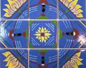 PAPOOSE Sunflower on Blue Tiles Backsplash Accent Piece