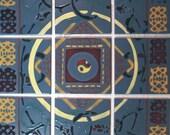 Backsplash Nine Tiles Golden Ring Set