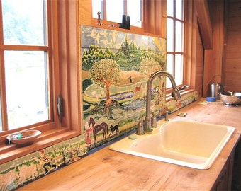 Custom Kitchen Back Splash Unusual Whimsical Durable Made to Order On Tiles