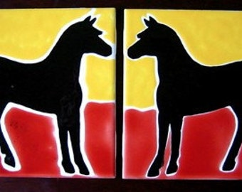 Horses Yellow Sky Red Earth  Two Tiles