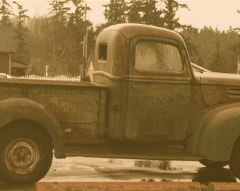 Vintage Pick up Truck Sepia Tone Flash from the Past