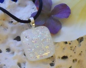 Free Shipping Free Satin Cord White Square Fused Dichroic Glass Pendant