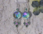 Long Dangle Earrings in Sea Green Fused Dichroic Glass and Swarovski Crystals FREE SHIPPING