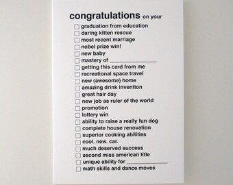 all purpose congratulations greeting card - black
