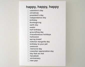 all purpose happy holiday greeting card - black