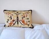 pillow, butterfly, butterflies, folk, embroidery, needlepoint, velvet, beige, orange, brown, bohemian, home decor, 70s