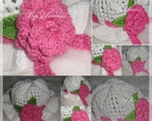 Crocheted White with Pink flower Baby Hat