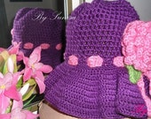 Crocheted Purple with Pink pretty Flowers Sun Hat