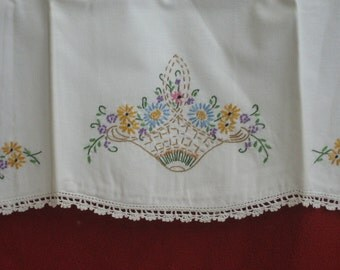 Two Hand Embroidered Pillowcases circa 1940s